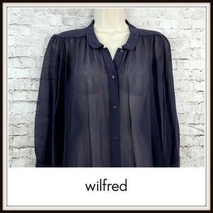 3965a56e93135 Wilfred Tops - Aritzia Wilfred Purple Sheer Silk Giulia Blouse